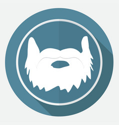 Icon beard on white circle with a long shadow vector