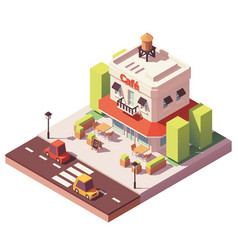 Isometric cafe building vector