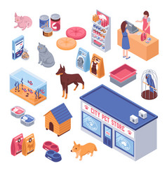 Isometric pet shop set vector