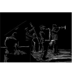 Jazz band engraving style vector