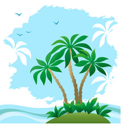 landscape sea beach with palms vector image