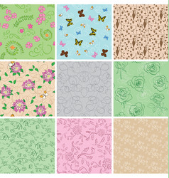 Light seamless patterns with plants vector