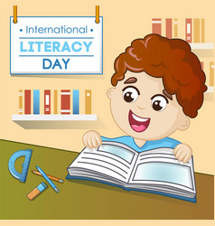 Literacy day concept background cartoon style vector