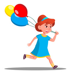 little girl running with colored balloon vector image