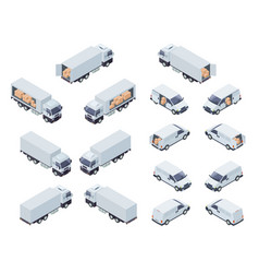 loaded cargo vehicles isometric icons set vector image