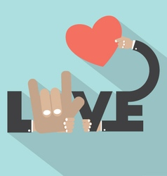 Love With Heart In Hand Typography Design vector image