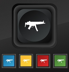 machine gun icon symbol Set of five colorful vector image