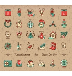 Mega Christmas icons set Winter holiday symbols vector