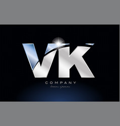 Metal blue alphabet letter vk v k logo company vector