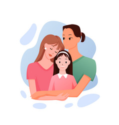Mixed race family people standing and hugging vector