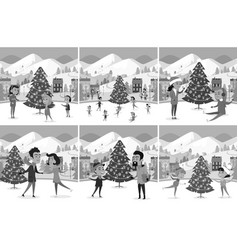 Monochrome set of happy people ice-skating on rink vector