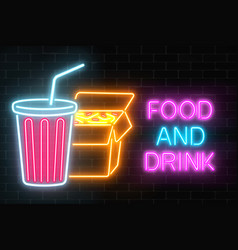 Neon food and drink glowing signboard on a dark vector