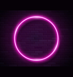 neon glowing circle pink frame for banner on dark vector image