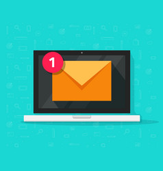 New email on laptop flat vector
