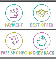online payment best offer and pay back icons vector image
