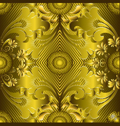 ornate gold 3d greek seamless pattern striped vector image