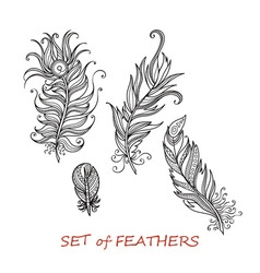 Ornate Set of Stylized and Abstract Zentangle vector image