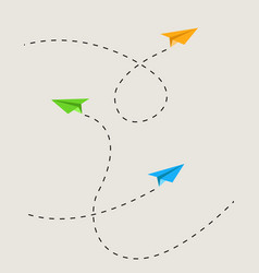 paper airplane route vector image