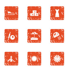 Parent course icons set grunge style vector