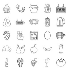 picnic icons set outline style vector image