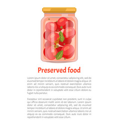 Preserved food tomatoes vector
