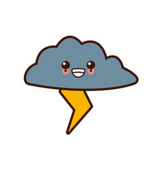 rainy weather symbol cute kawaii cartoon vector image