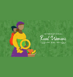 Rural women day card mother worker with vegetable vector