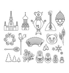 russia thin line icons collection russian culture vector image