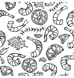Seafood seamless pattern shrimp or prawn herbs vector