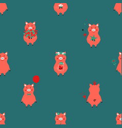 seamless pattern with funny piglets vector image