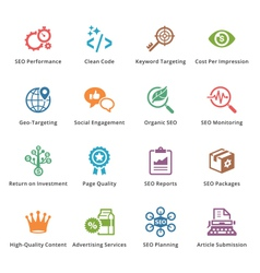 SEO and Internet Marketing Colored Icons - Set 4 vector