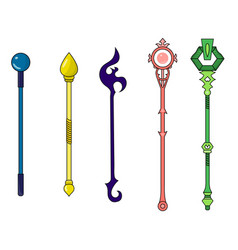 Set different colorful magic staffs vector