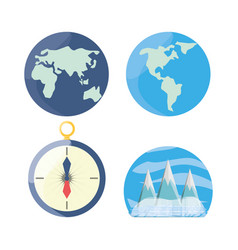 set global maps with compass and snowy mountains vector image