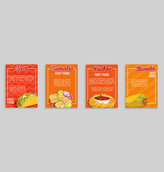 set mexican fast food shop flyersbanners vector image