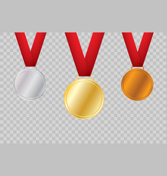 set of gold bronze and silver award medals vector image