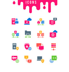 set simple icons vpn vector image