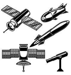set space rocket icons on white background vector image