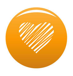 Shaded heart icon orange vector