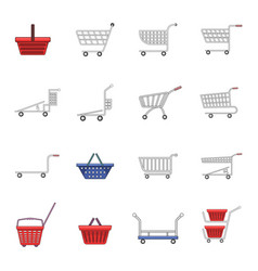 Shopping cart icons set cartoon style vector