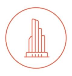 Skyscraper office building line icon vector