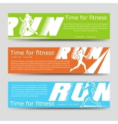 Sport banners template with running woman vector