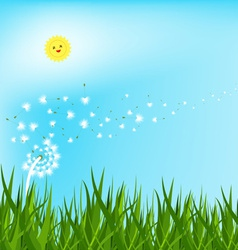 Spring background with white dandelions vector
