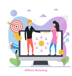 Square concept affiliate marketing in flat vector