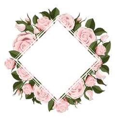 Square greeting card on pink rose flowers vector