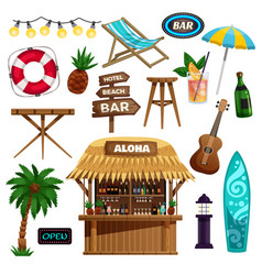 summer vacation icons set vector image