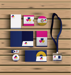 templates of hearts of corporate stationery over vector image