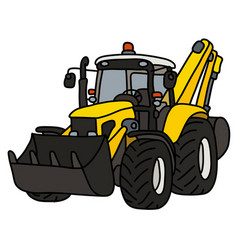The hand drawing of a yellow cultivator vector