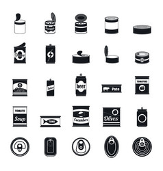 Tin can food package jar icons set simple style vector
