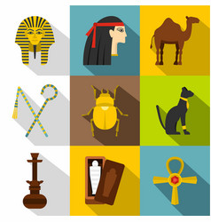 Tourism in egypt icon set flat style vector