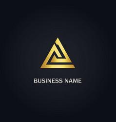 triangle shape gold logo vector image